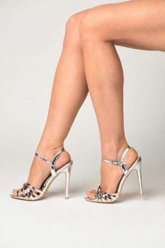 Sandale na štiklu S19504 srebrne