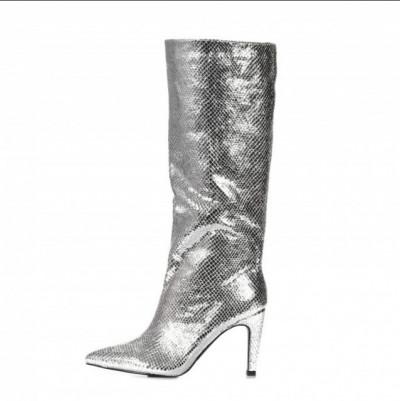 Ženske čizme na stiklu LX562026 srebrne