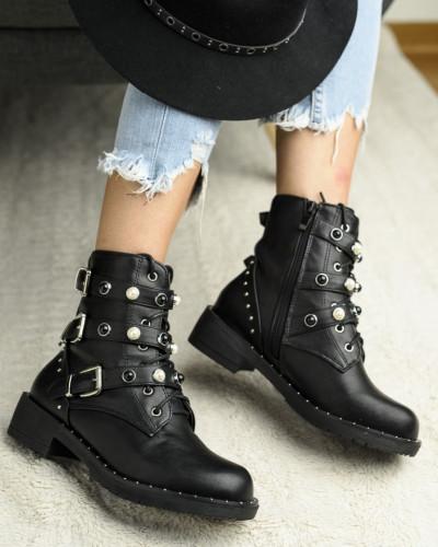 Ženske čizme sa biserima LH96606 crne