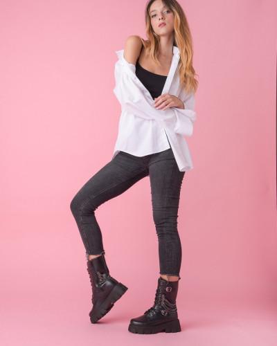 Ženske poluduboke čizme B56 crne
