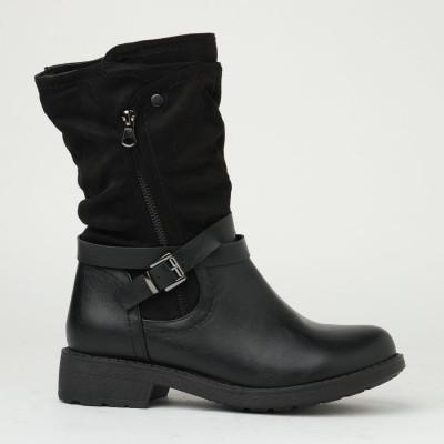 Ženske poluduboke ravne čizme ESL2001 crne