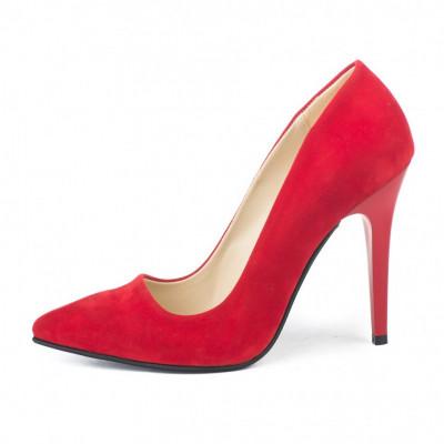 Cipele na štiklu 5010 crveni velur