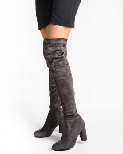 Čizme preko kolena na štiklu LX85055 sive