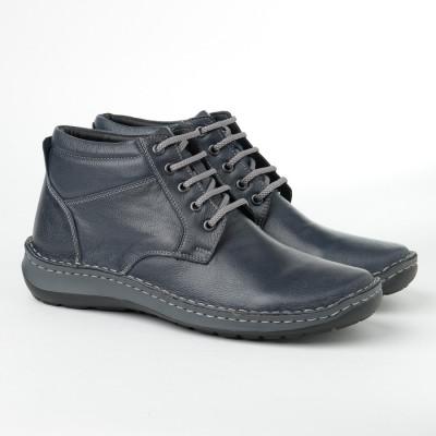 Kožne muške duboke cipele 9591 teget