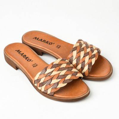 Kožne ravne papuče 221110 kombinacija braon bež