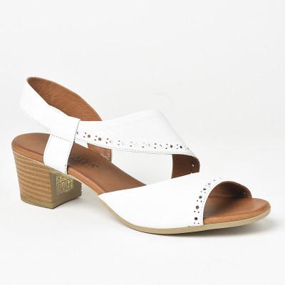 Kožne sandale na štiklu 816 bele