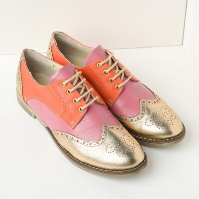 Kožne ženske cipele B15/36 narandžasto zlatne