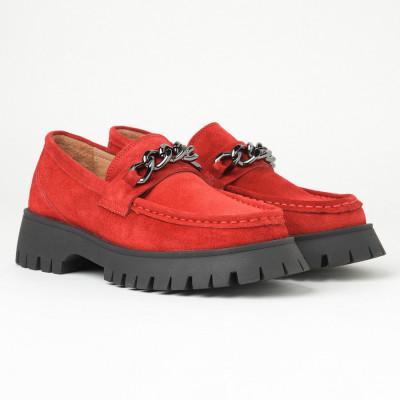 Kožne ženske cipele na debelom đonu ESB202652-01 crvene