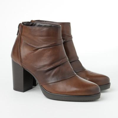 Kožne ženske kratke cizme 883005 konjak boje