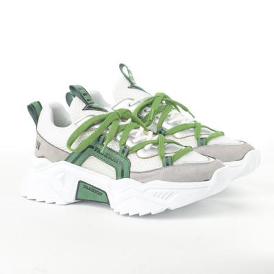 Plitke patike 00101 belo-zelene
