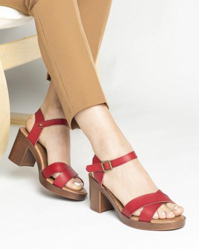 Sandale na deblju štiklu S401 bordo