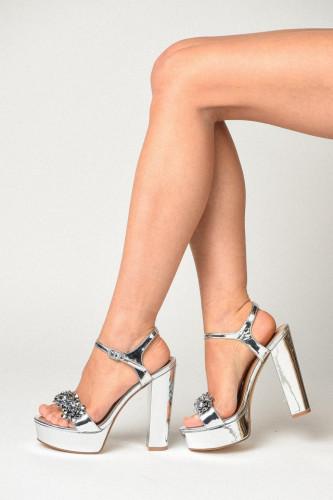 Sandale na platformu sa debelom štiklom S2505 srebrne