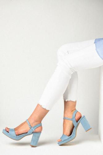 Sandale na štiklu LS771912 svetlo plave