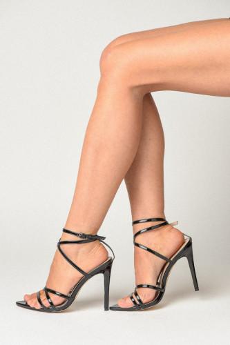 Špic sandale na tanku štiklu S2501 crne