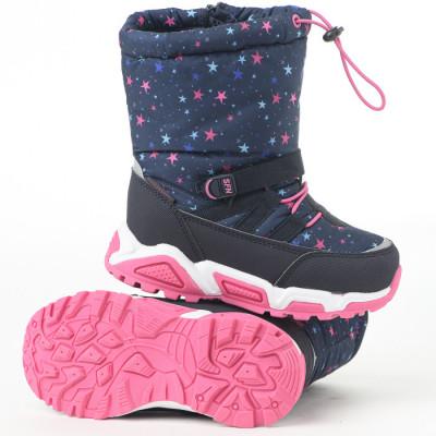 Tople vodootporne čizmice sa krznom BH571903 teget/pink