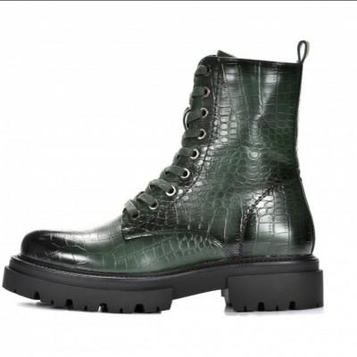 Ženske poluduboke čizme LH562018 zelene kroko