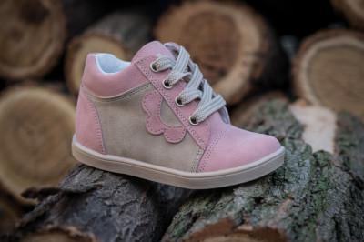 Kožne dečije cipele sa anatomskim uloškom G01 roze