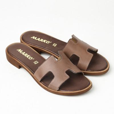 Kožne ravne papuče 221115 braon