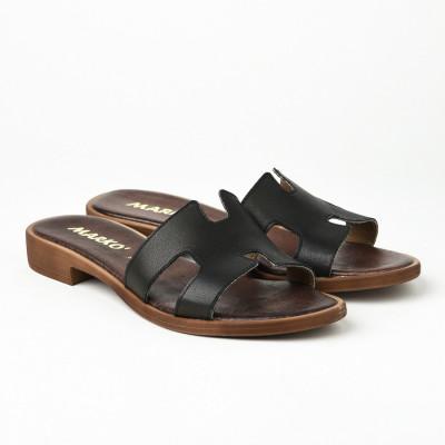 Kožne ravne papuče 221115 crne