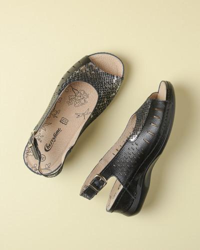 Kožne ravne sandale 2051 crne
