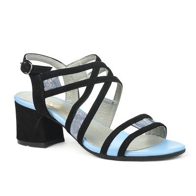 Kožne sandale na škilu 9-990 crno/plave