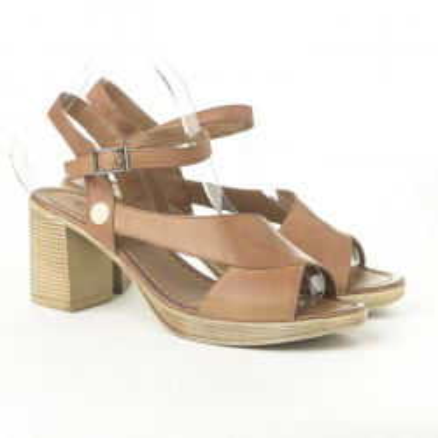 Kožne sandale na štiklu H3500/R322 kamel