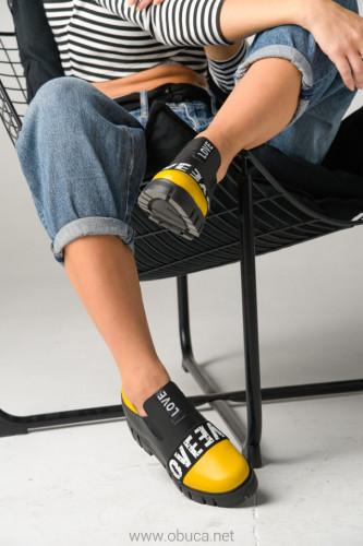 Kožne ženske cipele A5-18/3 žuto/crna