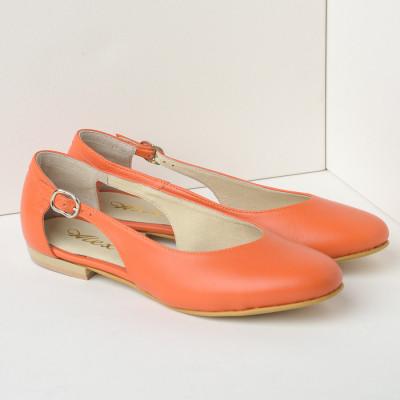 Kožne ženske cipele-baletanke B28/18 narandžaste