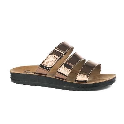 Ravne papuče 19780 bronzane