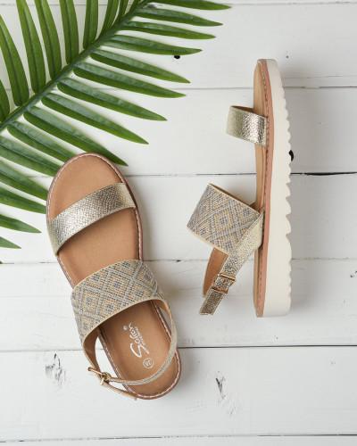 Ravne sandale na debelom djonu LS212110 zlatne