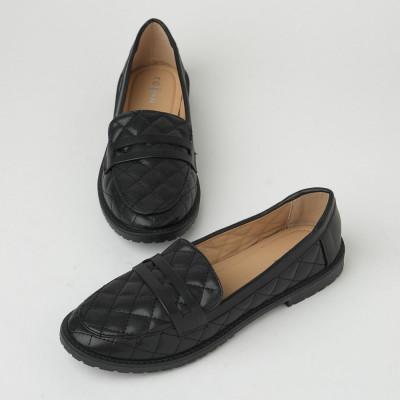 Ravne ženske cipele/mokasine C129 crne