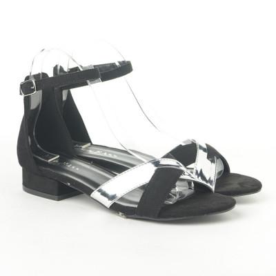 Sandale na malu petu 3723-6 crno/srebrne