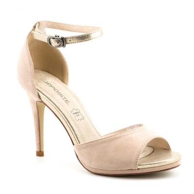 Sandale na štiklu LS80705 bež