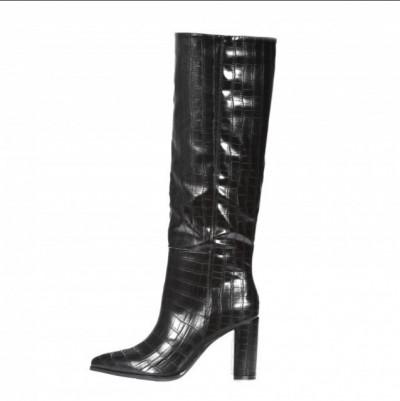 Ženske čizme na debelu stiklu LX562005 crne kroko