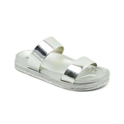 Ženske ravne papuče LP020372 srebrne