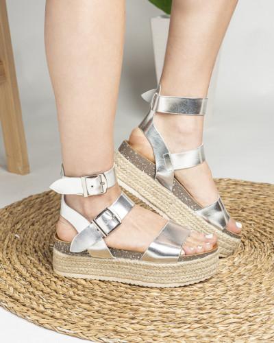 Ženske sandale na debelom djonu LS792004 srebrne
