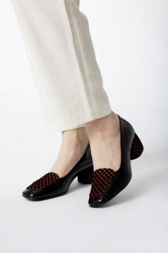 Cipele sa kožnom postavom N-131/7K crna/bordo