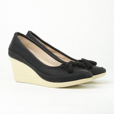 Cipele sa platformom 845 crne na bež đonu