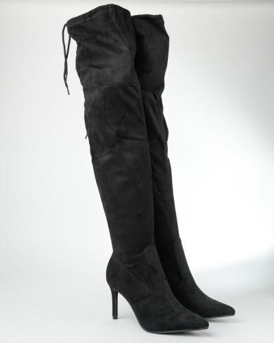 Čizme preko kolena na štiklu CA403-1 crne