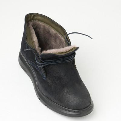 Elegantne kožne cipele sa prirodnim krznom F2542/1410-861 teget