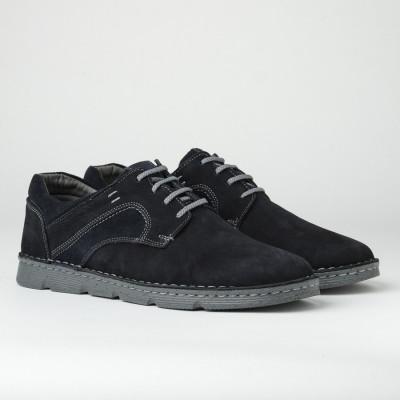 Kožne muške cipele na pertlanje 2820 tamno teget