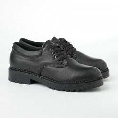 Kožne ravne jesenje cipele 623-860 crne