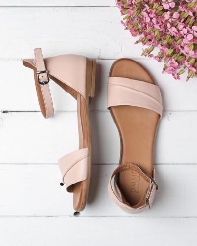 Kožne ravne sandale 2210 puder roze