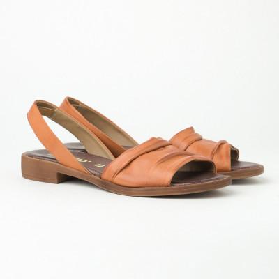 Kožne ravne sandale 221100 kamel