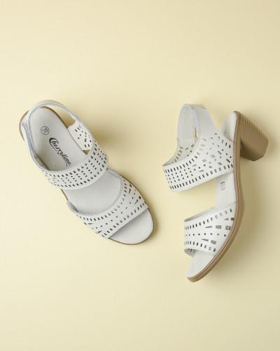 Kožne sandale na malu petu 1670 bele