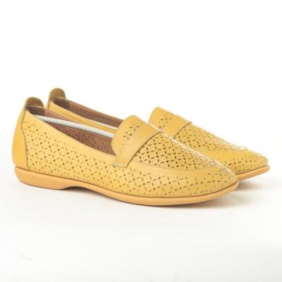 Kožne ženske cipele/mokasine 004 žute
