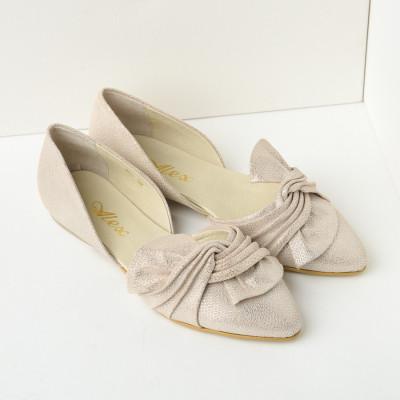 Kožne ženske ravne cipele J165 bež
