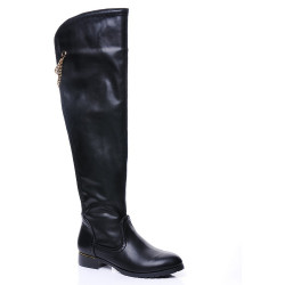 Ravne čizme preko kolena LX16142 crne