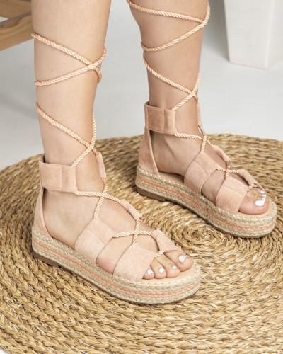 Sandale na debelom djonu LS020123 puder roze