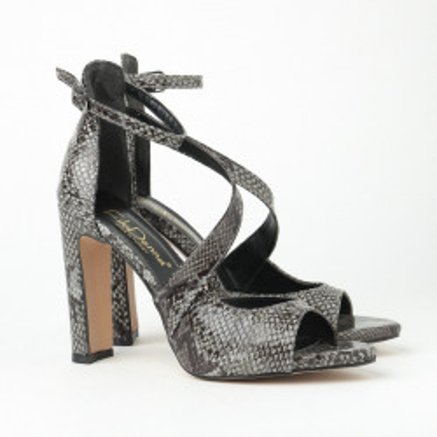 Sandale na štiklu FD7002 crno-sive print